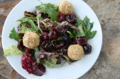 Mixed Greens with Cherries and Toasted Almond Goat Cheese Balls